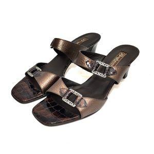 Brighton Tokyo Bronze Leather & Brown Patent Heels